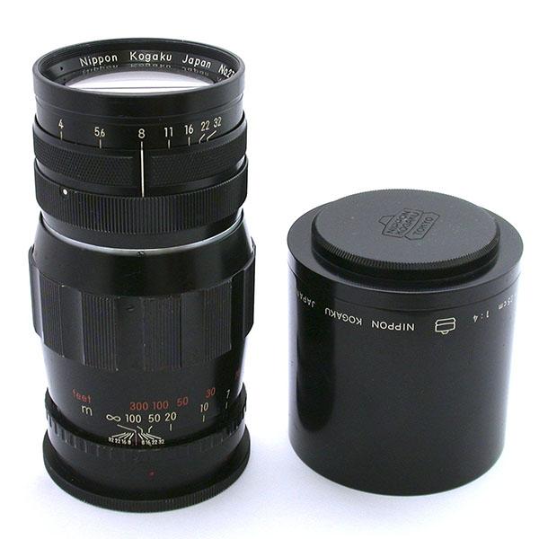 ゼンザブロニカS + ニッコールQ250mmF4 N250-1 レンズ本体とフード、フードキャップ